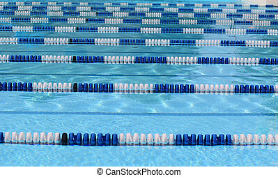 White and blue competitive pool lane dividers