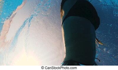 Swimming pool. A woman swims in the pool.