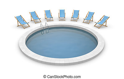 Swimming Pool And Deck Chairs Isolated On White