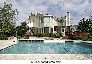 Swimming pool and large deck