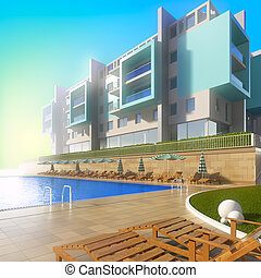 Swimming pool and modern hotel. A 3d illustration of idyllic...