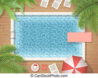 swimming pool and palm top view - Swimming pool and palm...