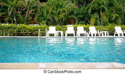 Swimming pool and palm trees in tropical garden. Paradise for tourists on sunny day. slow motion.
