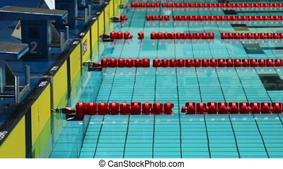 swimming pool and starting blocks, panorama from top down