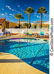 Swimming pool at a hotel in Vilano Beach, Florida.