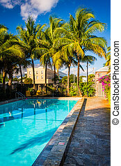 Swimming pool at a hotel in West Palm Beach, Florida.