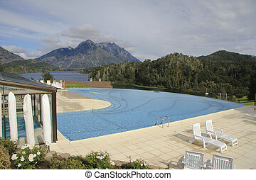Swimming pool at a mountain resort in Bariloche, Argentina