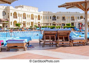 Swimming pool at a tropical resort