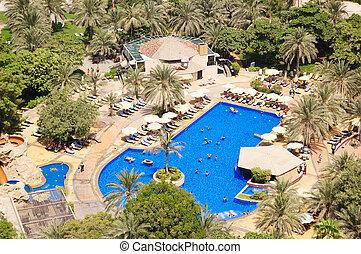 Swimming pool at hotel recreation area, Dubai, UAE