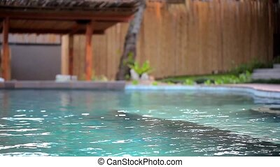 Swimming pool at luxury villa, Koh Samui, Thailand. Video shift motion