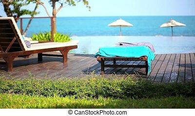 Swimming pool at luxury villa, Koh Samui, Thailand. Video shift motion
