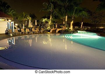 Swimming Pool at Night - Night image of a swimming pool in...