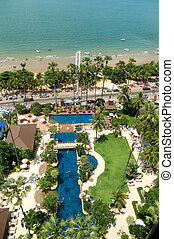 Swimming pool at the beach of popular hotel, Pattaya, Thailand