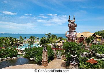 Swimming pool at the beach of popular hotel, Pattaya, Thailand