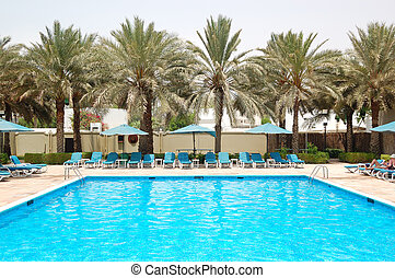 Swimming pool at the luxury hotel, Sharjah, UAE