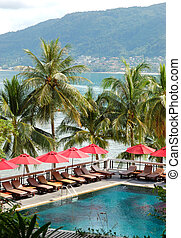 Swimming pool at the luxury hotel with a view on Patong beach, Phuket, Thailand