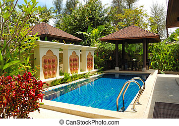 Swimming pool at the luxury villa, Phuket, Thailand