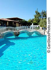 Swimming pool at the modern luxury hotel, Pieria, Greece