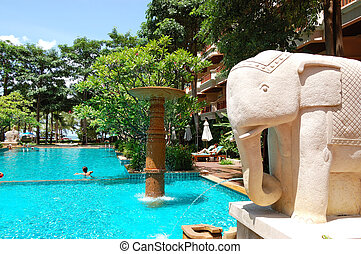 Swimming pool at the popular hotel, Pattaya, Thailand