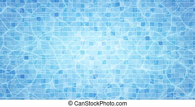 Swimming pool bottom caustics ripple and flow with waves background. Summer background. Texture of water surface. Overhead view. Vector background.