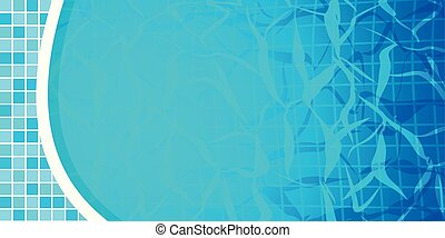 Swimming pool bottom caustics ripple and flow with waves background. Texture of water surface. Overhead view. Vector illustration.