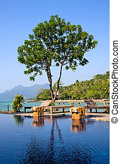 Swimming pool by the sea in island Koh Chang, Thailand