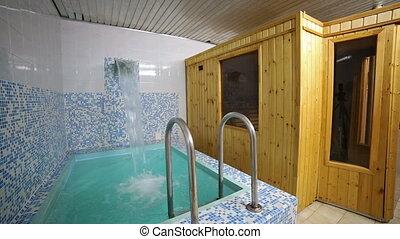 Swimming pool, clean water, interior, relaxing blue, sauna -...