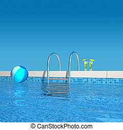 swimming pool detail - 3d rendering showing the view to the...
