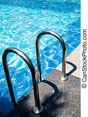 Swimming pool entrance - safety rails by a swimming pool