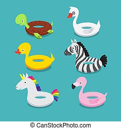 Swimming Pool Floats Inflatable Animals Flamingo Duck Unicorn Zebra Turtle