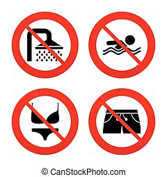 No, Ban or Stop signs. Swimming pool icons. Shower water drops and swimwear symbols. Human swims in sea waves sign. Trunks and women underwear. Prohibition forbidden red symbols. Vector