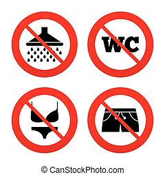 No, Ban or Stop signs. Swimming pool icons. Shower water drops and swimwear symbols. WC Toilet sign. Trunks and women underwear. Prohibition forbidden red symbols. Vector