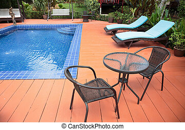 Swimming pool in a garden