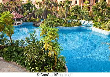 Swimming pool in garden