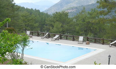 """Swimming pool in hill resort with pupils, fethiye, turkey"""