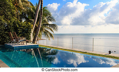 Swimming pool in luxury resort by the sea,Samui,Thailand