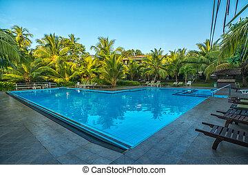 Swimming pool in resort at outdoors