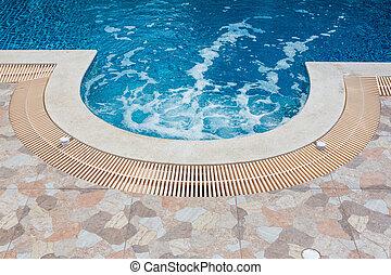 Jacuzzi water circulation in beautiful swimming pool
