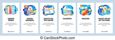 Swimming pool. locker room, rescuer, water aerobics, safety rules. Mobile app onboarding screens. Menu vector banner template for website and mobile development. Web site design illustration