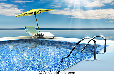 Luxury home swimming pool near the sea