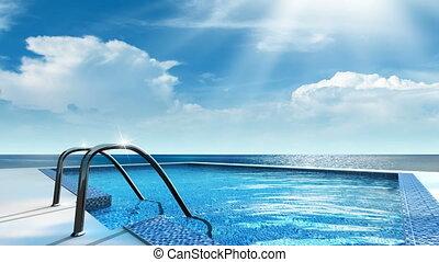 Swimming pool - Luxury swimming pool near the sea.