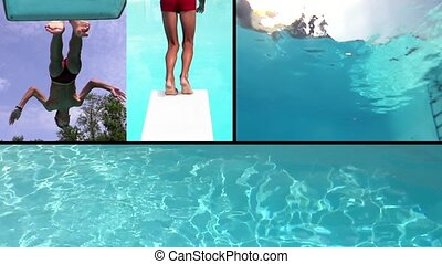 boy diving and swimming into pool, collage