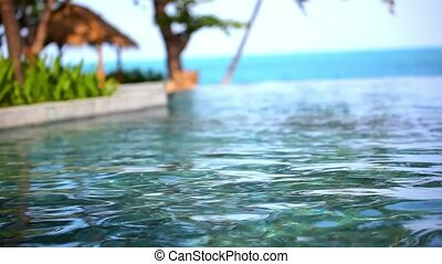 Swimming pool near the sea, island Koh Samui,Thailand. Video...