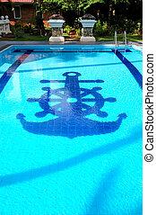 Swimming pool near villa at the popular hotel, Bentota, Sri...