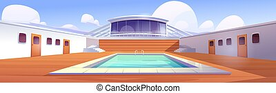 Swimming pool on cruise liner, empty ship deck