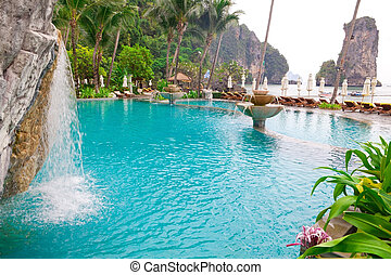 Swimming pool on the beach