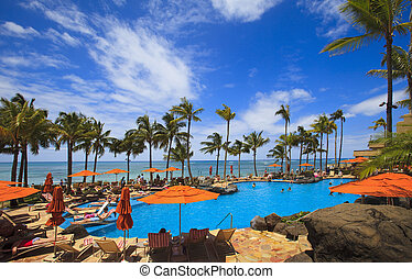 Swimming pool on Waikiki beach, Hawaii