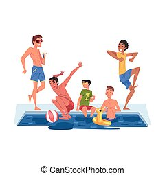 Swimming Pool Party, Happy Guys Having Fun Outdoors Enjoying Summer Vacation Cartoon Style Vector Illustration Isolated on White Background