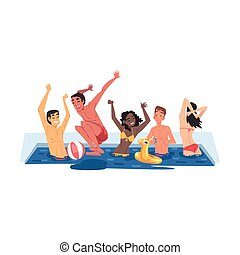 Swimming Pool Party, Happy Young Men and Women Having Fun Outdoors Cartoon Style Vector Illustration Isolated on White Background