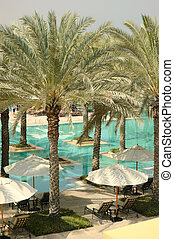 Swimming pool recreation area of luxury hotel, Dubai, UAE